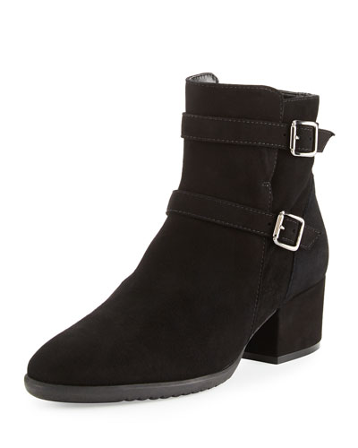 Fargo Suede Buckle Ankle Boot, Black