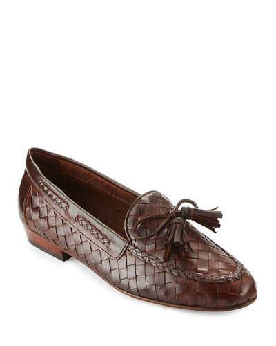 Nicole Woven Leather Loafer, Dark Tan