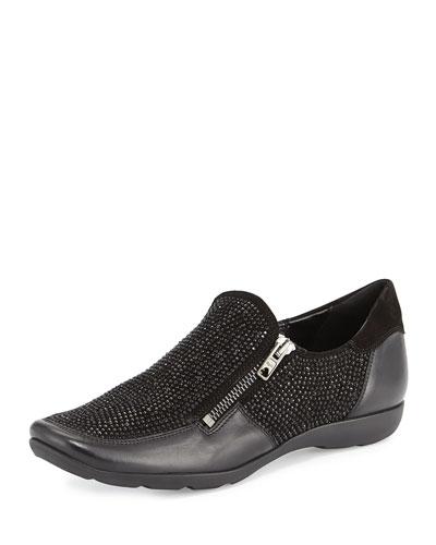Gali Crystal Zip Sneaker, Black