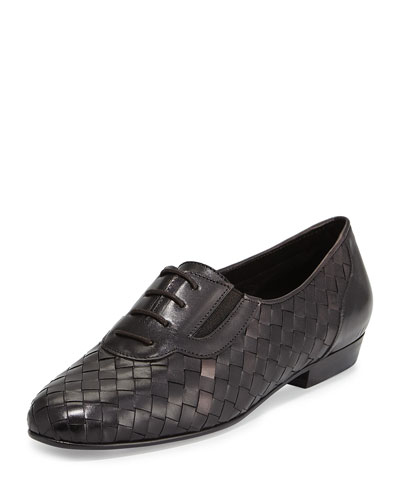 Nadir Woven Leather Oxford, Black
