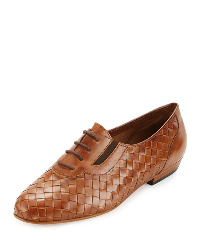 Nadir Woven Leather Oxford, Camel