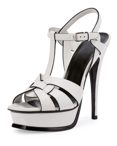 Tribute Leather 135mm Platform Sandal, Blanc Craie