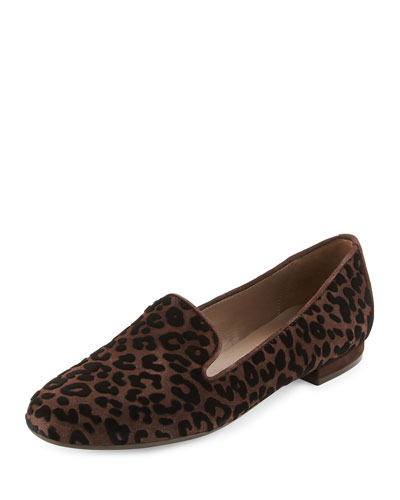 Kerria Leopard-Print Suede Loafer, Moro Brown
