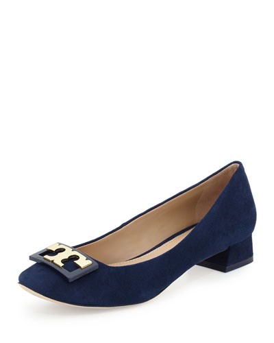 Annie Logo Suede 25mm Pump, Navy