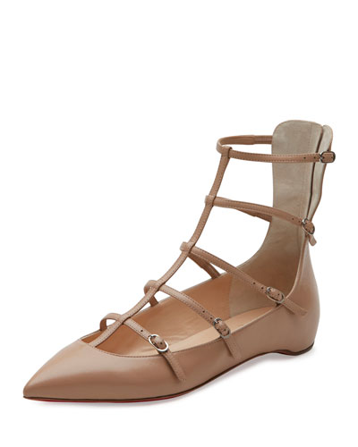 Toerless Muse Caged Skimmer Red Sole Flat, Nude