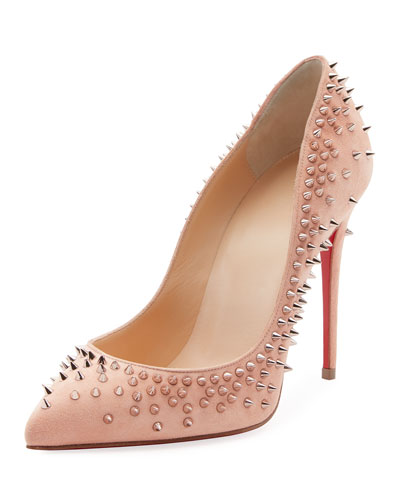 Escarpic Spike 100mm Red Sole Pump, Black