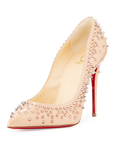 Escarpic Spike 100mm Red Sole Pump, Doudou/Gold Rose