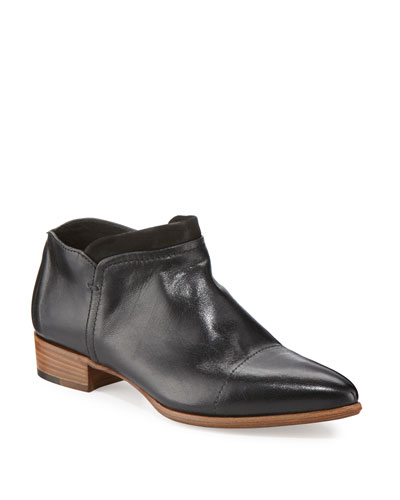 Serafina Leather Pointed-Toe Bootie, Black
