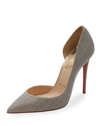 Iriza Glitter 100mm Red Sole Pump, Silver/Gold