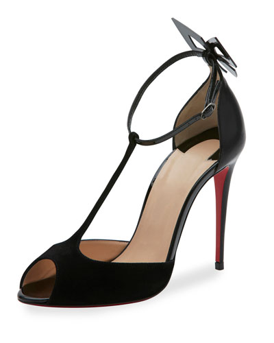 Aribak T-Strap 100mm Red Sole Pump, Black
