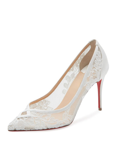 Neoalto Lace 85mm Red Sole Pump, White