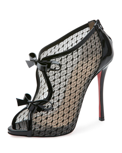 Empirealta Lace 120mm Red Sole Bootie, Black