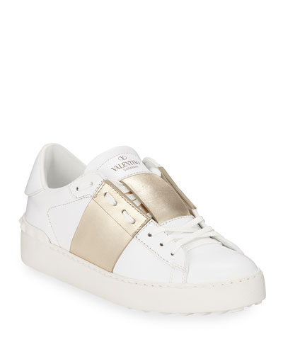 Open Metallic-Band Sneaker, Bianco/Platinum