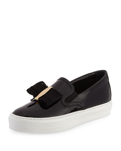Pacau Gros Bow Slip-On Sneaker, Nero