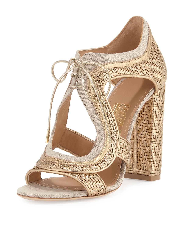 Twist Woven Lace-Up Sandal, Mekong/Yuta
