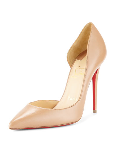 Iriza Half-d'Orsay 100mm Red Sole Pump, Nude