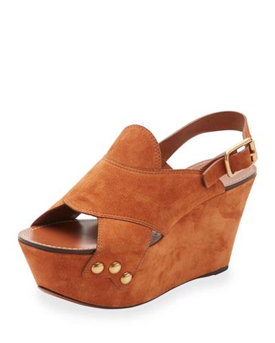 Suede Slingback Platform Sandal, Ochre