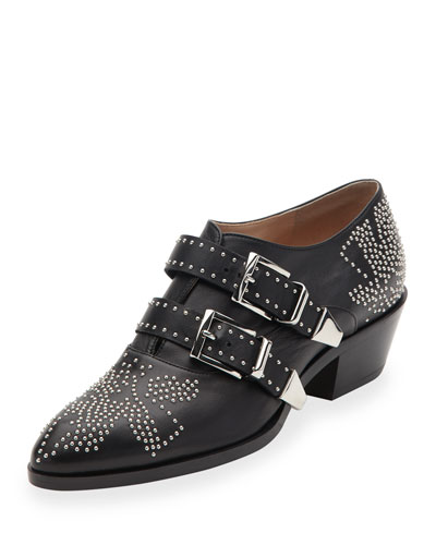 Studded Buckle 30mm Bootie, Black/Silver