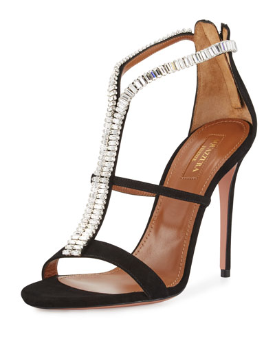 Constance Crystal 105mm Sandal, Black