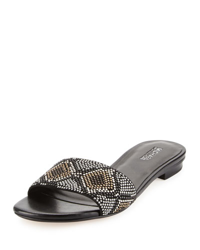 Mercer Beaded Slide Sandal, Gray/Multi