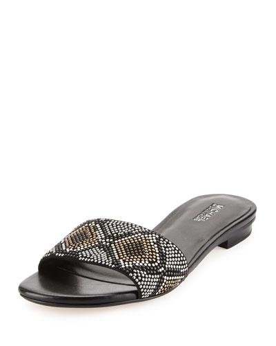 Mercer Beaded Slide Sandal, Gray/Multi