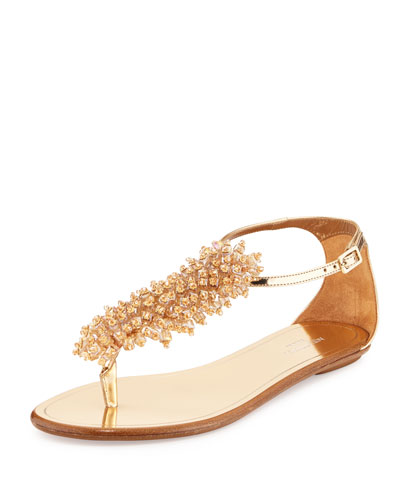 Monaco Beaded T-Strap Sandal, Rose Gold