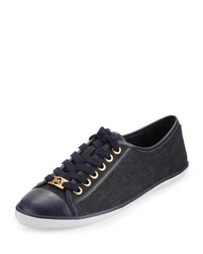 Kristy Denim Lace-Up Sneaker, Dark Denim