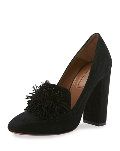 Wild Suede Fringe Loafer Pump, Black