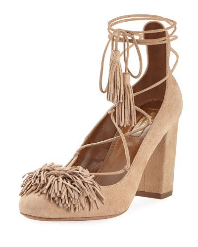 Wild Thing Fringe Block-Heel Pump, Biscotto