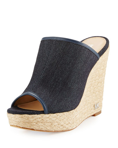 Hastings Denim Wedge Mule, Dark Denim