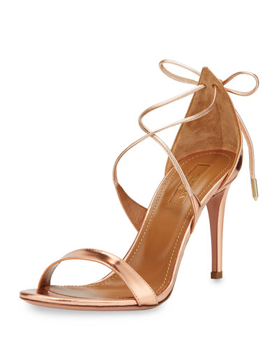 Linda Metallic Leather 75mm Sandal, Rose Gold