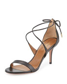 Linda Napa Leather 75mm Sandal, Black