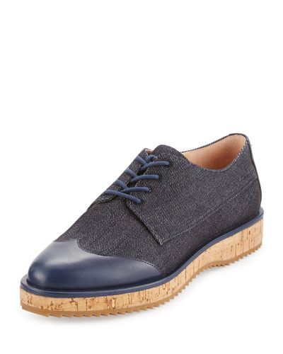 Zane Denim Lace-Up Oxford, Dark Denim