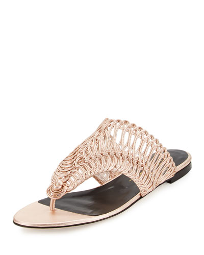 Cindy Macramé Thong Sandal, Rose Gold