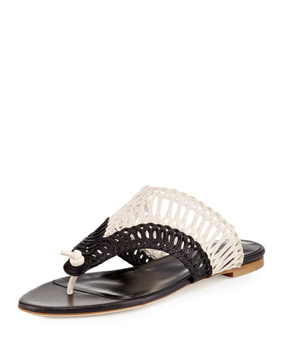 Cindy Macramé Thong Sandal, Black/White
