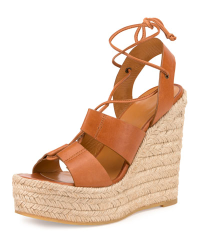 Leather Espadrille Wedge Sandal, Dark Noce