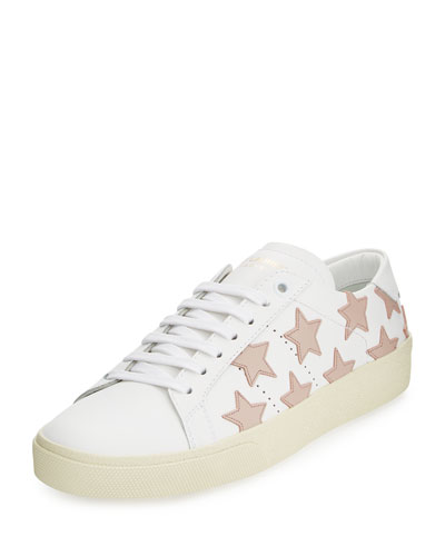 Star Leather Low-Top Sneaker, Off White/Rose Antique