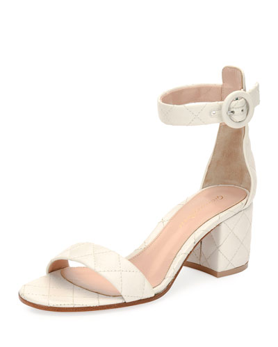 Versilia Quilted Mid-Heel Sandal, Off White