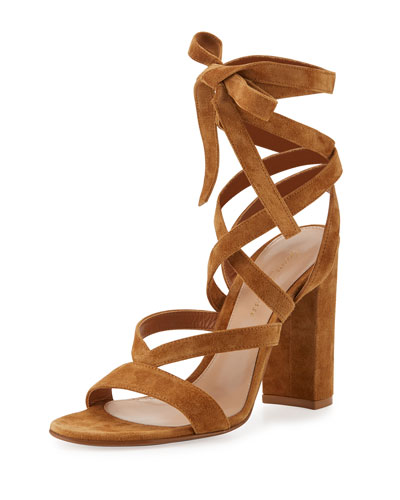 Janis High Suede Lace-Up 105mm Sandal, Almond