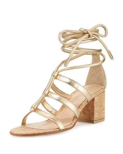 Cayman Lace-Up Metallic 60mm Sandal, Mekong