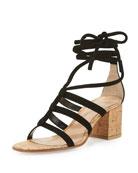 Cayman Lace-Up Suede 60mm Sandal, Black