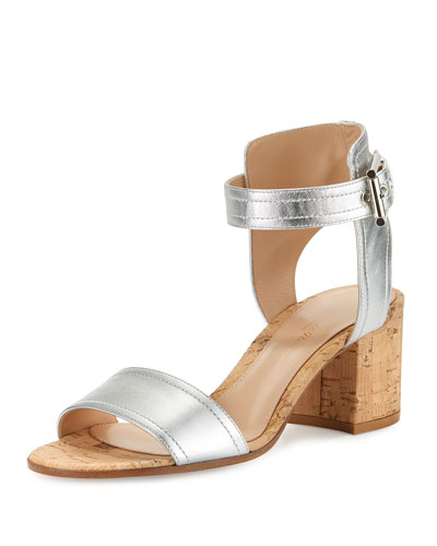 Rikki Low Metallic 60mm City Sandal, Silver