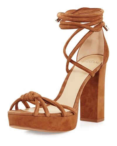 Janelle Knotted Suede 110mm Sandal, Beige