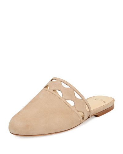 Melissa Laser-Cut Flat Suede Mule, Light Gray