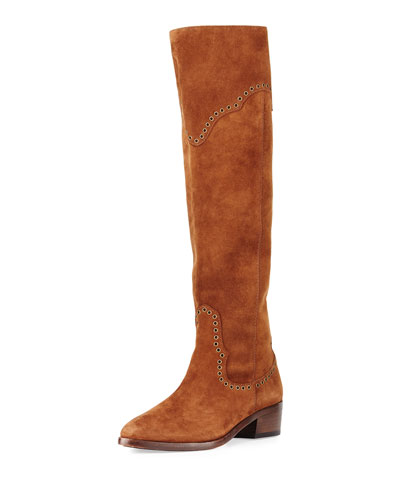 Ray Grommet Suede Knee Boot, Wood