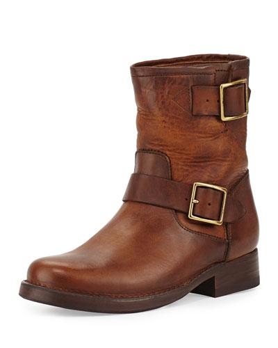 Vicky Engineer Leather Bootie, Dark Brown