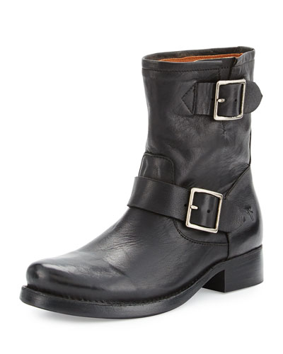 Vicky Engineer Leather Bootie, Black