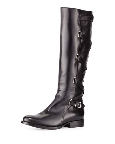 Jordan Strappy Leather Knee Boot, Black