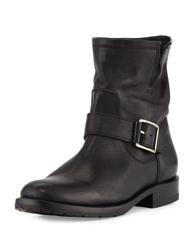 Natalie Short Engineer Boot, Black
