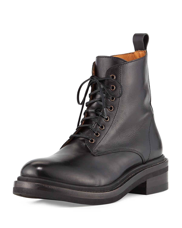 Alice Leather Combat Boot, Black